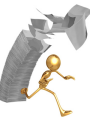 Gold Man Escaping VAT Tax Bureaucracy Paperwork