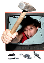 Man Smashing Out Of Television