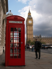 Business Scene London with Big Ben and Red Telephone Box