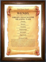 Framed Wendy Name Meaning Gift